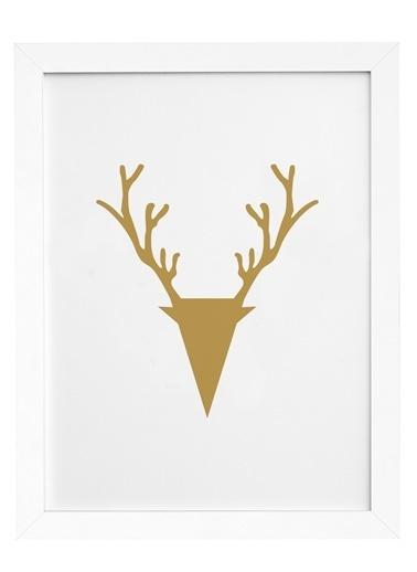 Nordbagen Deer Gold Poster Beyaz